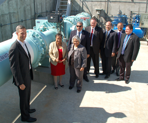 (L-R) Matt Swindle, CEO, NLine Energy; California Assembly Member Cheryl Brown; U.S. Representative Gloria Negrete McLeod; Jesus Sandoval, Fontana City Council Member; Robert K. Young, General Manager, Fontana Water Company; Robert DiPrimio, Vice President, San Gabriel Valley Water Company; Former State Senator Richard Polanco; and Rafael Trujillo, District Representative for California State Senator Norma Torres